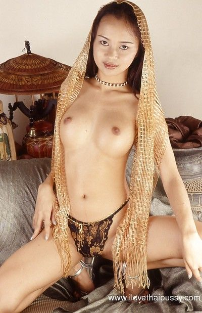 Masturbating Asian babe teases her hairy pussy and big tits