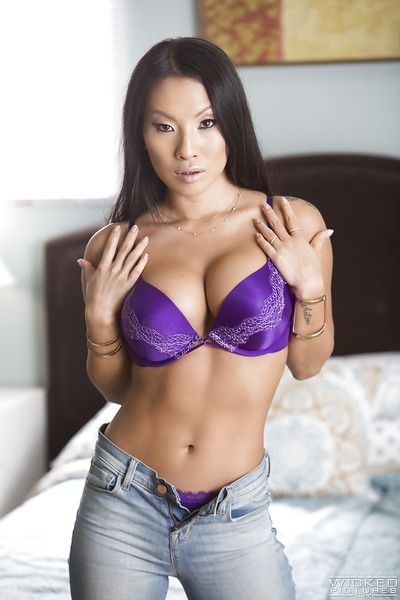 Famous Asian pornstar Asa Akira loosing nice tits from satin brassiere