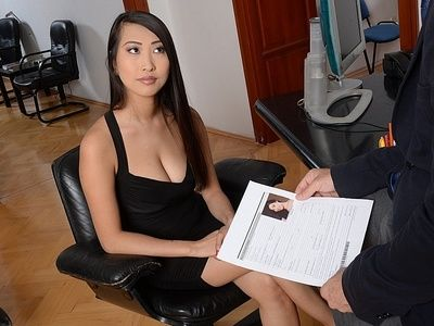 Dark haired Asian hottie Sharon Lee makes sure she is the most desirable during interview