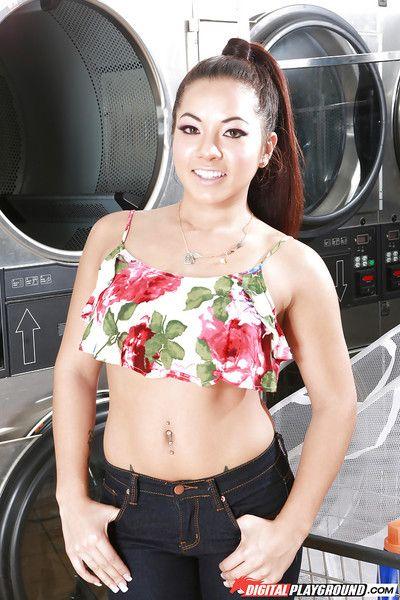 Asian pornstar Morgan Lee baring perky tits before masturbating at laundromat