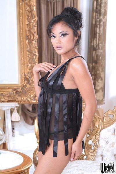 Asian gadget Kaylani Lei is losing the lingerie off flashing either tits or pussy
