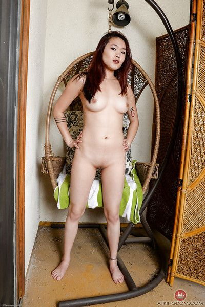 Pale Asian amateur slut Lea Hart showing off her wet bald pussy