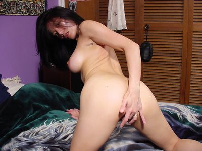 Saucy thai lassie in jeans shorts undressing and teasing her cooter