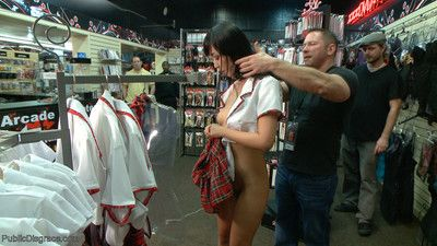 Japanese slut marica is shamed in an adult store in front of a group of horny gu