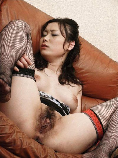 Asian honey Hitomi Aizawa puts on sexy stockings to seduce her man into hardcore sex