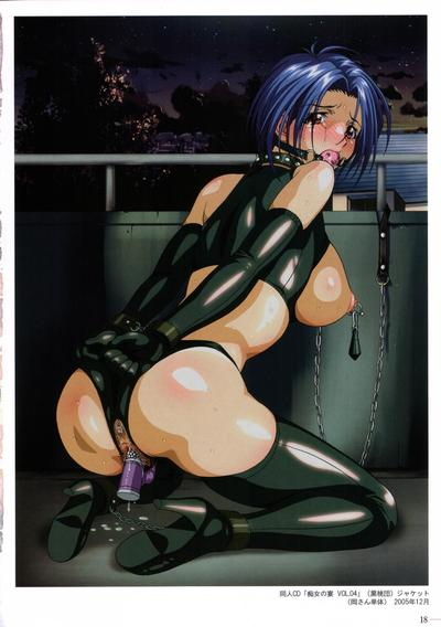 Lustful butthole of this hentai latex slut is drilled hard by an awesome toy