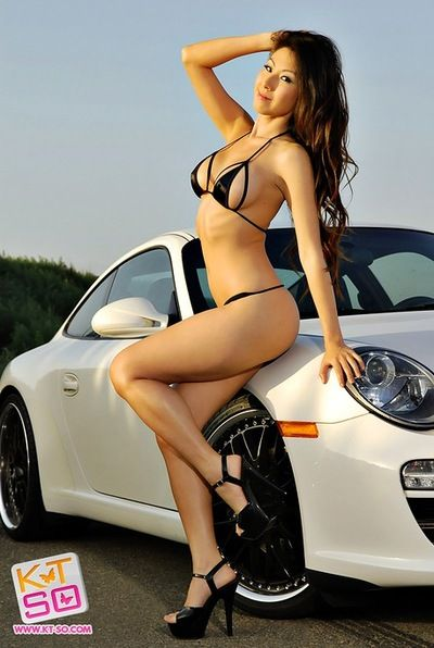 Shiny bikini hot on Asian car model Kt So posing outdoors