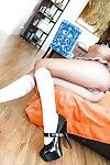 Asian teen Alina Li in socks and heels ball licking and getting cum on face