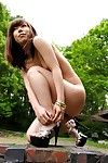 Pretty sexy hot young brunette Youzc Idols is excitingly posing nude outdoors at the back yard