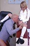 Shaved headed experienced teacher fucks spectacled student blonde Kat Kiss