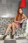 Red-haired asian teen cutie Verasha Nubiles in pretty short dress flashes her panties