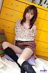 Asian slut Anna Suzukaze is fooling around showing hair through the sheer panty