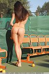 This Asian girl Aurika A couldn't find a better place for showing the nudity than tennis court
