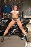 The slutty Asian milf Max Mikita posing half naked body on the huge bike