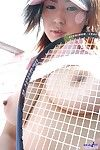 Young tennis player Yuria Yoshingaga shows her tits downblouse and pussy through panty