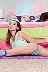 Alina Li is revealing her skinny body in tight blue panties in her room