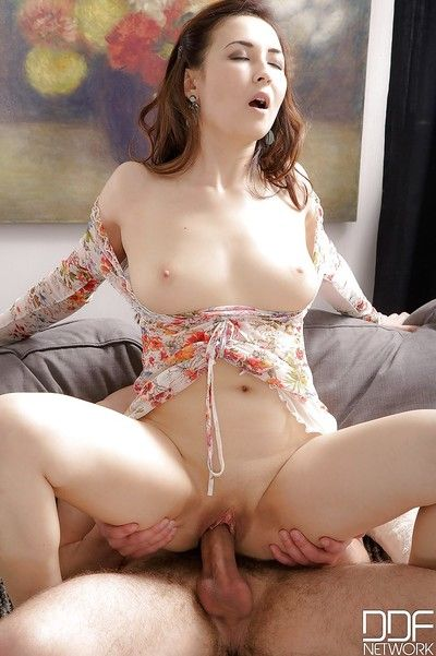 Breasty European young having slit licked before riding wang cowgirl style
