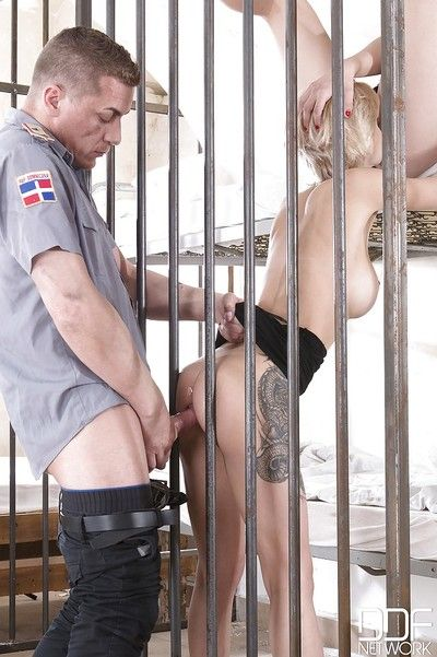 Oozy prison sex with Olivia Jager & Dolly Diore hammering corrections officer
