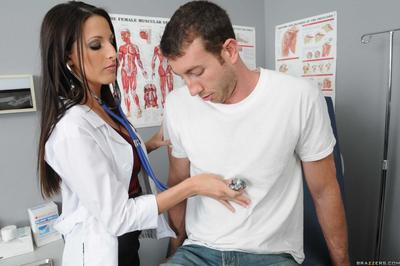 Nice-looking big titted lady doctor Kortney Kane takes patient