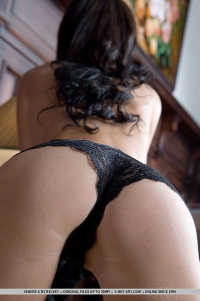 Lean infant girl Venere removes her panties to make known her curly cage of love