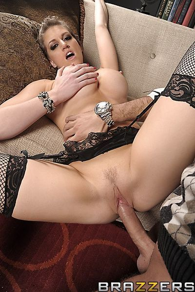 Eve Lawrence looks unbelievable in stockings but even huger while having hardcore sex.