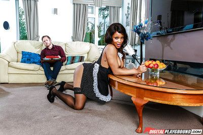 Black chick Kiki Mina seducing her spouse in French House girl outfit