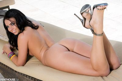 Smiling brunette Tiffany Tyler with extreme small tits, smooth bawdy cleft and adorable legs benefits from naked