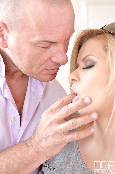 Sweaty European blonde Cutie Ebon swallowing jizz during the time that CFNM bj action