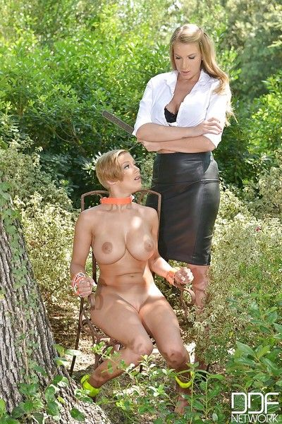 Tough lezdom love making act outdoors with sweaty chicks Loulou Little and Danielle Maye