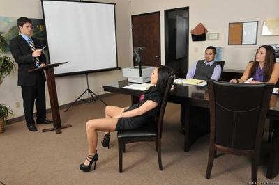Vast meloned office pretty Eva Angelina gets nude to get her juicy wet crack team-fucked at work