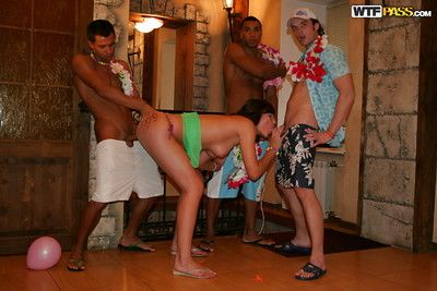 Drunk floosie has a foursome act of love party with well-hung lads