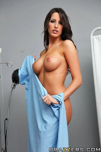 Beautiful brunette Kortney Kane with perfect round boobs purchases team-fucked by thick dicked doctor