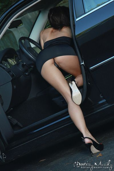 Hawt girls showing off her stiff and hairless vag even as car solo scene