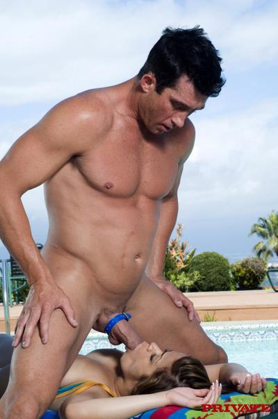 Clammy titted latin chico Chavon Taylor in blue bikini purchases crammed with thick pecker by the pool