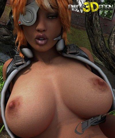 Boobsy redhead warrior babe masturbates at outdoor