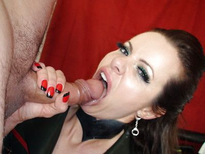 European fetish pornstar Amica Bentley fascinating spunk flow on tongue in uniform