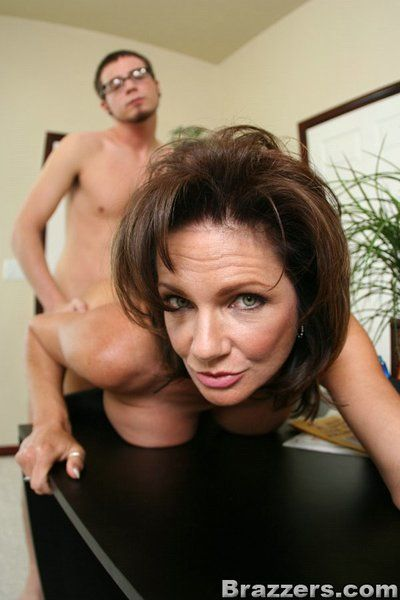 Weighty breasted milf Deauxma gets owned by four-eyed boy in the office