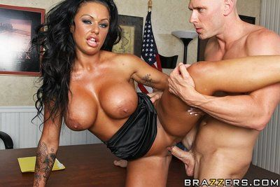 Clammy brunette hair milf Kerry Louise with giant jugs enjoys hardcore banging in the office