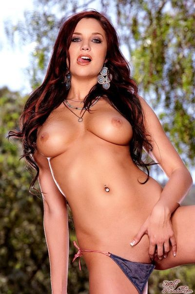 Titsy country girl Jayden Cole strips off her shorts and shorts outdoors