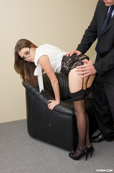 Sexually aroused secretary in glasses Missy Stone receives her bald pussy dug by gigantic dicked boss