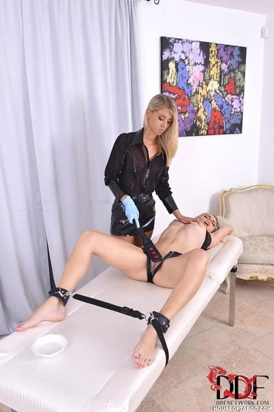 Golden-haired lesbos Chloe Lacourt & Chloe Equipment spank bottoms and fist twats