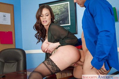 Boobsy boss Kendra Long for fucks with her coworker and swallows!