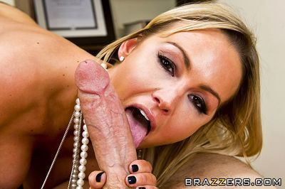 Huge breasted office woman Abbey Brooks gets her fuck hole drilled by thick snake