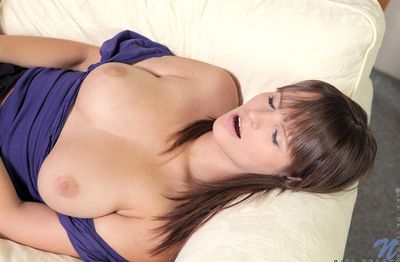 Raunchy and awesome queen with round wazoo is masturbating her concupiscent love tunnel