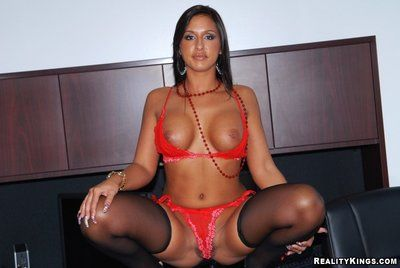 Dark haired office dear Lexxy disrobes down to her red lingerie and gets nailed