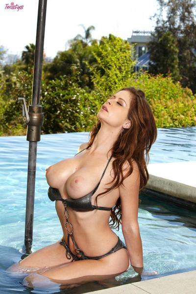Massive titted bikini hottie Emily Addison demonstrates her cunt by the pool