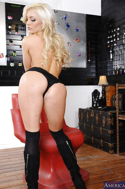 Wild, long-haired babe Cameron Dee location naked in her brown boots