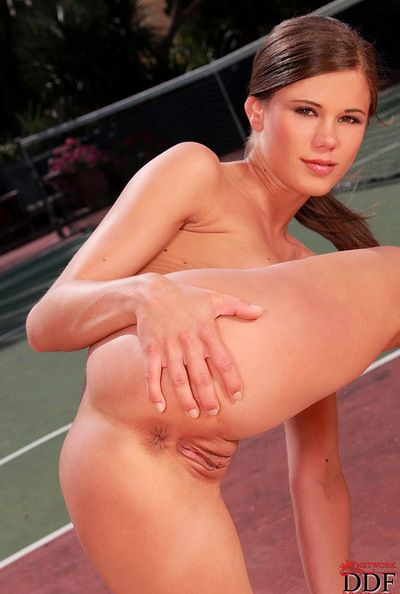 Sporty Little Caprice enjoys posing in outdoor session of dirty masturbation
