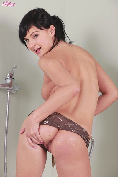 Abbie Cat enjoys warm water stimulating her sweaty cage of love in a complete solo shower scene