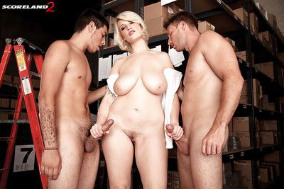 Heavy blonde Siri exhibiting big knockers even as smokin\